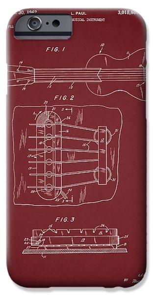 `les iPhone Cases - Les Paul Guitar Patent 1962 iPhone Case by Mark Rogan