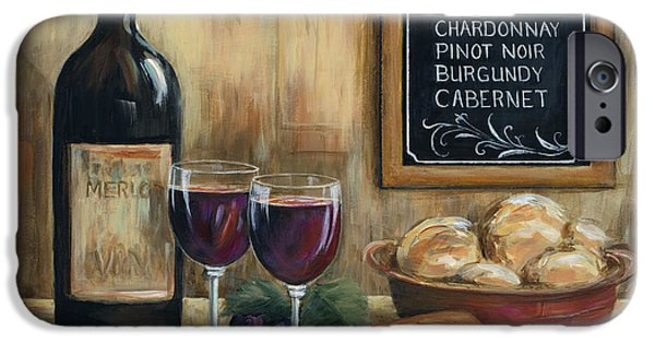 Wine Glasses Paintings iPhone Cases - Les Vins iPhone Case by Marilyn Dunlap