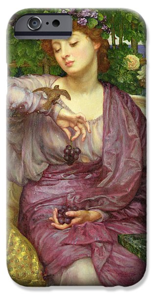 Little Girl iPhone Cases - Lesbia And Her Sparrow iPhone Case by Sir Edward John Poynter