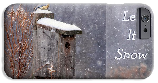Christmas Greeting Digital iPhone Cases - Let It Snow - Bluebirds iPhone Case by Lori Deiter