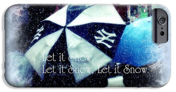 Snowy Day iPhone Cases - Let it Snow - Happy Holidays - NY Yankees iPhone Case by Miriam Danar