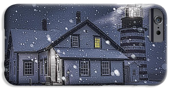 Snowy Night iPhone Cases - Let It Snow Let It Snow iPhone Case by Marty Saccone