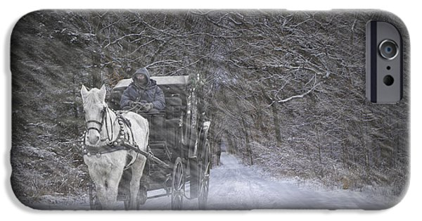 Horse And Buggy Photographs iPhone Cases - Let it Snow iPhone Case by Randall Nyhof