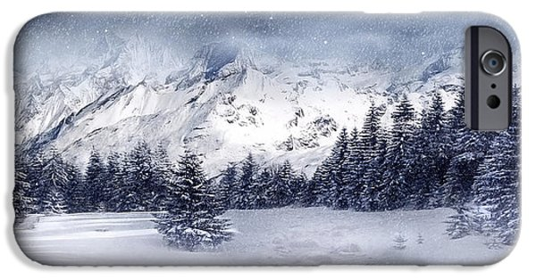 Snowy Mixed Media iPhone Cases - Let it Snow iPhone Case by Svetlana Sewell