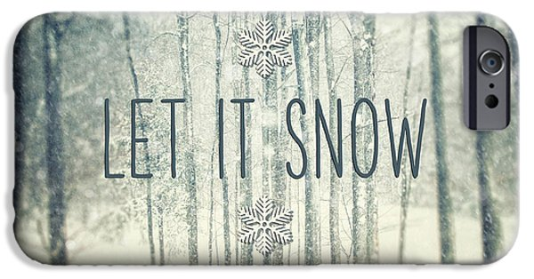 Snow iPhone Cases - Let it Snow Winter and Holiday Art Christmas Quote iPhone Case by Lisa Russo