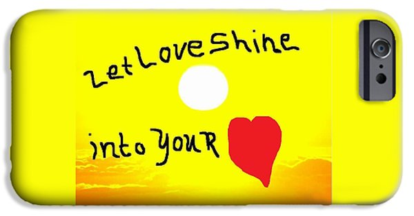 Etc. Paintings iPhone Cases - Let Love Shine iPhone Case by Earnestine Clay