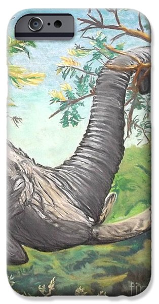 Elephants Pastels iPhone Cases - Let the BIG GUY feed iPhone Case by Frank Giordano