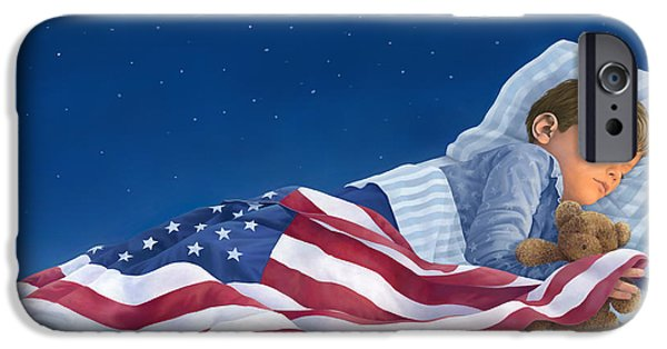 Old Glory Paintings iPhone Cases - Let There Be Peace On Earth iPhone Case by Laura Regan