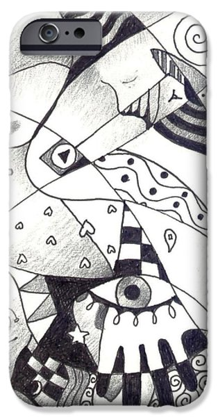 Abstractions Drawings iPhone Cases - Let Us Dance iPhone Case by Helena Tiainen