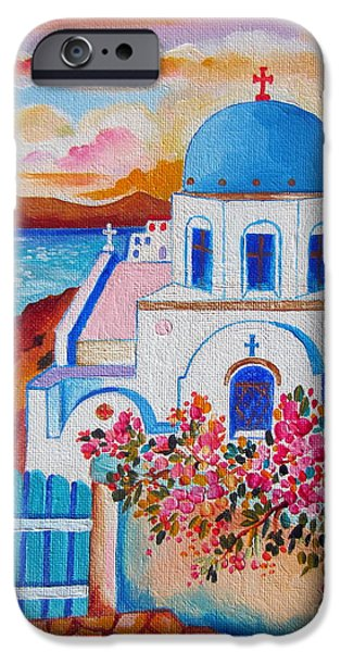 Village By The Sea iPhone Cases - Let us go to Santorini iPhone Case by Roberto Gagliardi
