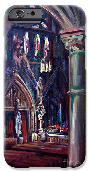 Church Pillars Paintings iPhone Cases - Let Us Pray iPhone Case by John  Reilly