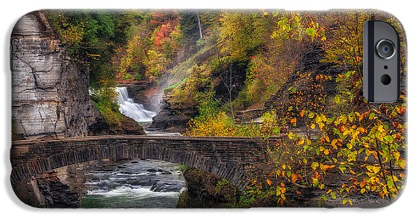Leaf Change iPhone Cases - Letchworth Lower Falls iPhone Case by Mark Papke