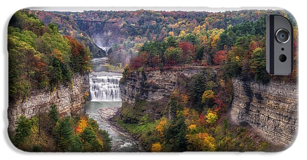 Flooding iPhone Cases - Letchworth Middle Falls iPhone Case by Mark Papke