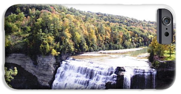 Artists4god iPhone Cases - Letchworth State Park Middle Falls Panorama iPhone Case by Rose Santuci-Sofranko