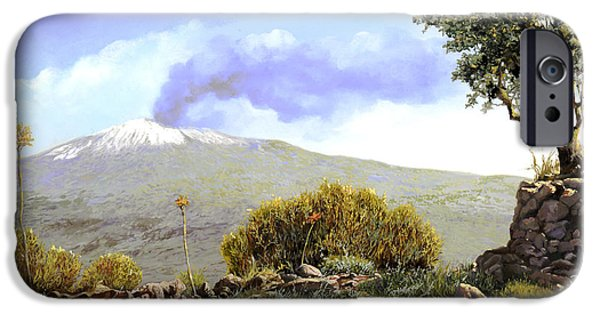 Pillow iPhone Cases - lEtna  iPhone Case by Guido Borelli
