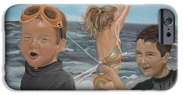Freedom iPhone Cases - Beach - Children playing - kite iPhone Case by Jan Dappen