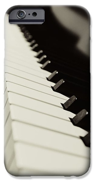 Piano iPhone Cases - Lets Play a Tune in Black and White iPhone Case by Emily Enz