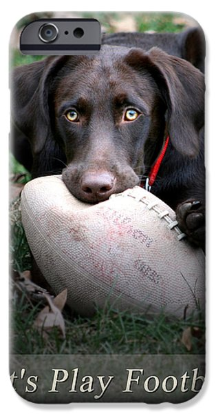 Chocolate Lab Digital Art iPhone Cases - Lets Play Football iPhone Case by Lori Deiter