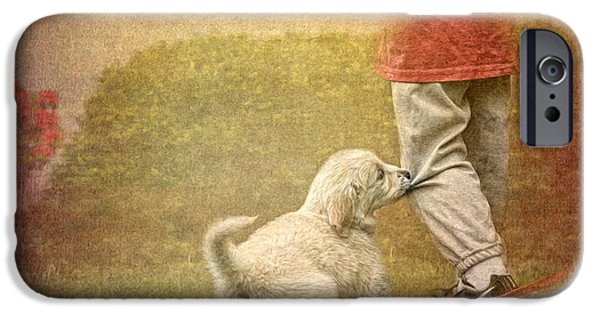 Puppy Digital Art iPhone Cases - Lets Play iPhone Case by Jayne Carney