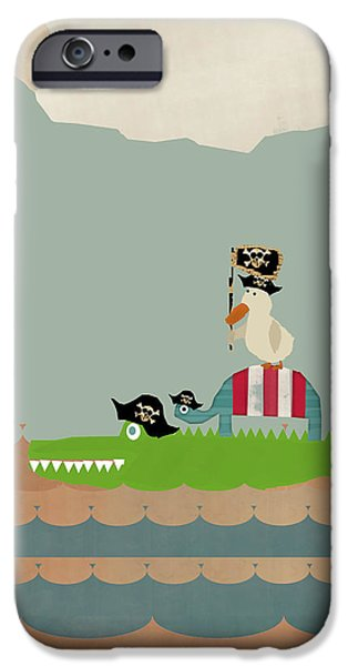 Pirate Ships Paintings iPhone Cases - Lets Play Pirates iPhone Case by Bri Buckley