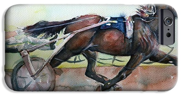 Recently Sold -  - Little iPhone Cases - Racehorse painting in watercolor Lets Roll iPhone Case by Maria