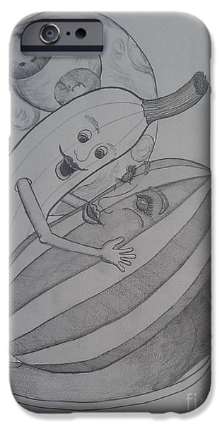 Watermelon Drawings iPhone Cases - Lets Take A Dip iPhone Case by Laurrie Lloyd