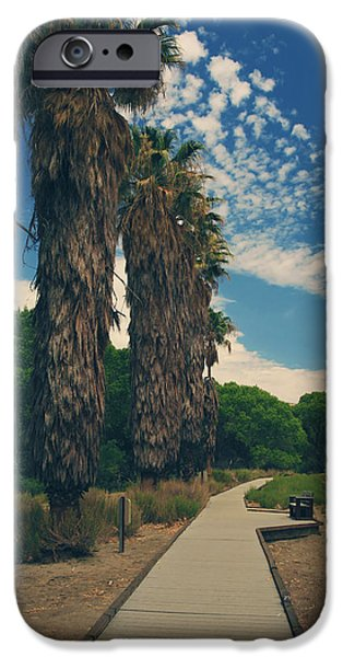 Park Benches iPhone Cases - Lets Walk This Path Together iPhone Case by Laurie Search