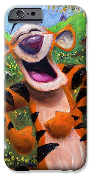 Recently Sold -  - The Tiger iPhone Cases - Lets You and Me Bounce - Tigger iPhone Case by Andrew Fling