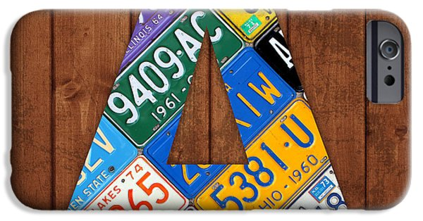 Arkansas Mixed Media iPhone Cases - Letter A Alphabet Vintage License Plate Art iPhone Case by Design Turnpike
