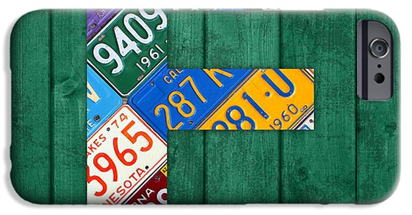 Arkansas iPhone Cases - Letter E Alphabet Vintage License Plate Art iPhone Case by Design Turnpike