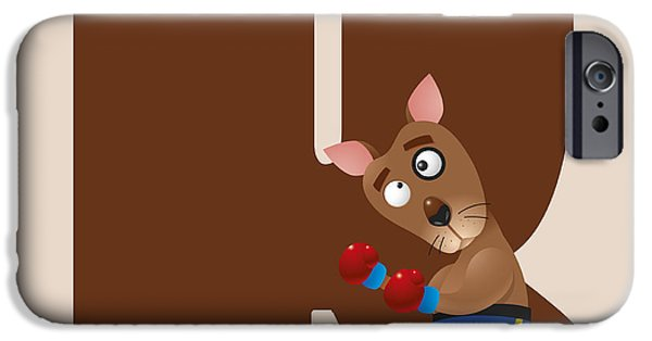 Kangaroo Digital Art iPhone Cases - Letter K iPhone Case by Gina Dsgn