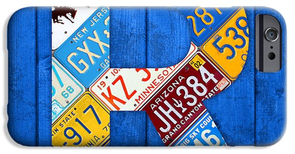 Arkansas iPhone Cases - Letter R Alphabet Vintage License Plate Art iPhone Case by Design Turnpike