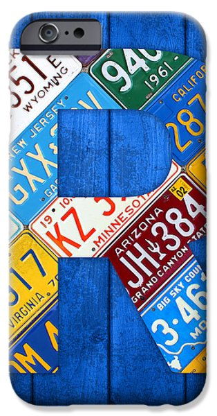 Letter R Alphabet Vintage License Plate Art iPhone Case by Design Turnpike