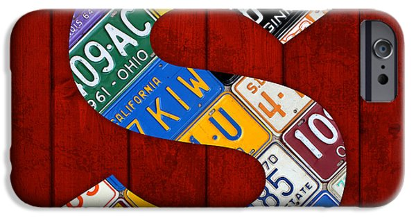 Arkansas Mixed Media iPhone Cases - Letter S Alphabet Vintage License Plate Art iPhone Case by Design Turnpike