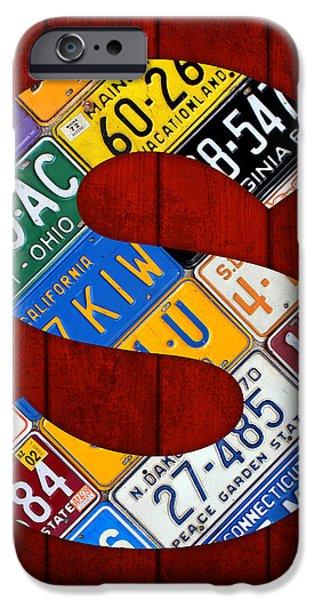 Letter S Alphabet Vintage License Plate Art iPhone Case by Design Turnpike