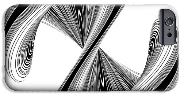 Shape Sculptures iPhone Cases - Letter S In Geometric Twisted Wave Blac And White Shape iPhone Case by Nenad  Cerovic