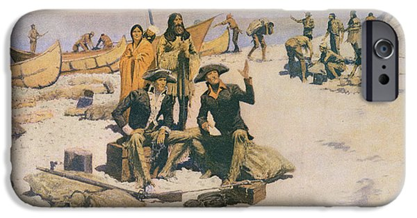 Canoe iPhone Cases - Lewis And Clark At The Mouth Of The Columbia River, 1805, From Colliers Magazine, May 12th 1906 iPhone Case by Frederic Remington