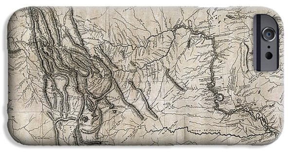 Montana State Map iPhone Cases - LEWIS and CLARK HAND-DRAWN MAP of the UNKNOWN  1804 iPhone Case by Daniel Hagerman