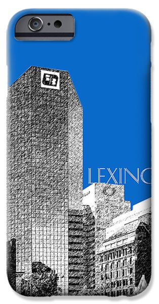 Pen And Ink iPhone Cases - Lexington Skyline - Blue iPhone Case by DB Artist