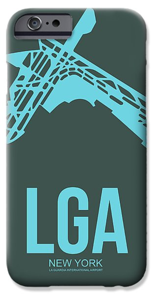 Nyc Mixed Media iPhone Cases - LGA New York Airport 3 iPhone Case by Naxart Studio
