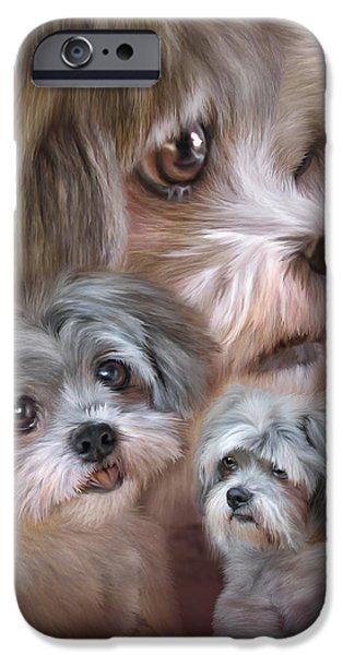 Canine Mixed Media iPhone Cases - Lhasa Apso iPhone Case by Carol Cavalaris
