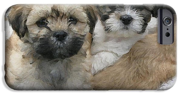 Puppies iPhone Cases - Lhasa Apso Puppy Painting iPhone Case by Marvin Blaine