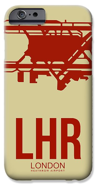 Town iPhone Cases - LHR London Airport Poster 1 iPhone Case by Naxart Studio