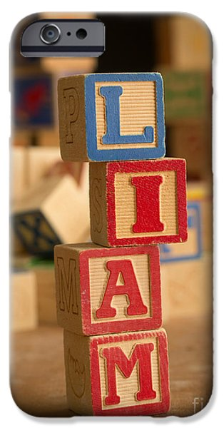 Spell iPhone Cases - LIAM - Alphabet Blocks iPhone Case by Edward Fielding