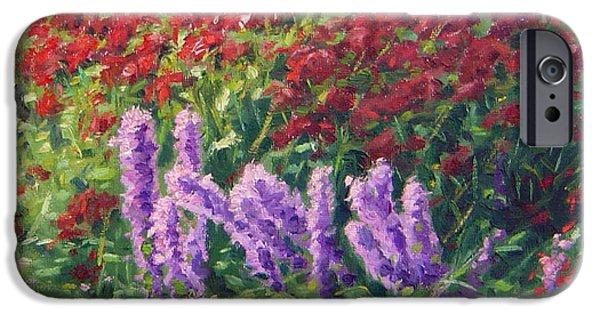 Garden Scene Paintings iPhone Cases - Liatris iPhone Case by Rick Hansen
