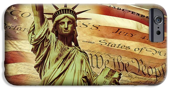 Stripes Digital Art iPhone Cases - Declaration Of Independence iPhone Case by Az Jackson