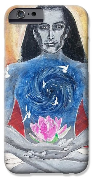Liberation Paintings iPhone Cases - Liberation - Mahavatar Babaji iPhone Case by Vidya Vivek