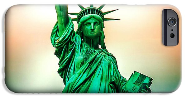 New York City Digital Art iPhone Cases - Liberty And Beyond iPhone Case by Az Jackson
