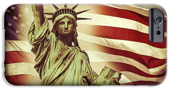 New York City Digital Art iPhone Cases - Liberty iPhone Case by Az Jackson