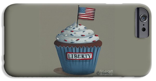 4th July Paintings iPhone Cases - Liberty Cupcake iPhone Case by Catherine Holman